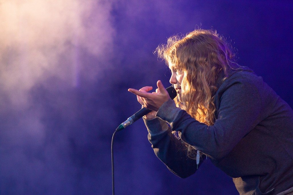 Kate Tempest performing at the Tramlines Festival 2015