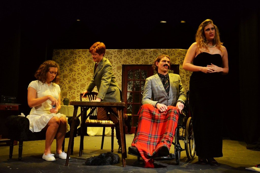 Lucy Knight as Felicity, Hamish Inglis as Simon, Andy White as Magnus, and Kitty Briggs as Cynthia in 'The Real Inspector Hound'