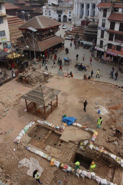 Kasthamandap, a temple in Kathmandu, with a rescue excavation plot. Photograph: UNESCO.