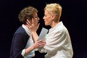 Katie West as Ophelia (left) and Maxine Peake as Hamlet in  HAMLET (Royal Exchange Theatre until 25 October). Photo - Jonathan Keenan