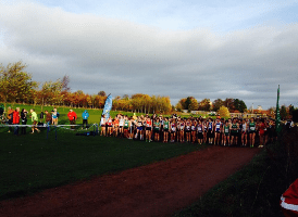The field line up at the beginning of the women's race