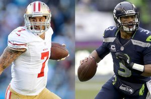 Colin Kaepernick (Left) and Russell Wilson (Right)